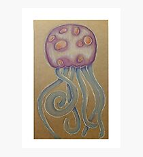 Jellyfish coloured pencil illustration Photographic Print