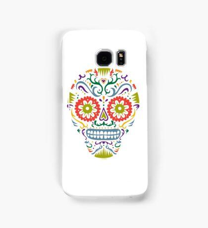 Sugar Skull SF multi 2 - on white Samsung Galaxy Case/Skin