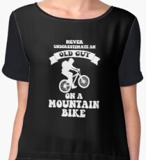Never Underestimate An Old Guy On A Mountain Bike Chiffon Top