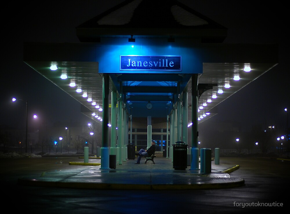 bus stop foggy night by foryoutoknowtice