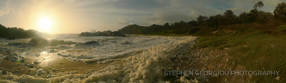 Turbulent Froth leading to Tacking Point lighthouse by STEPHEN GEORGIOU PHOTOGRAPHY