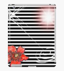 black and white stripes red flower iPad Case/Skin