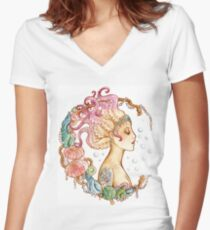 Octopus Mermaid Women's Fitted V-Neck T-Shirt