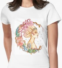Octopus Mermaid Womens Fitted T-Shirt