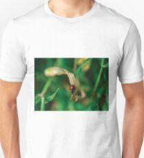 Mariquita roja en una hoja verde Unisex T-Shirt