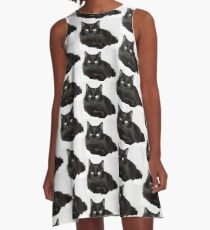 Black Cat Lounging A-Line Dress