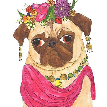 Frida Pug by chickenpants