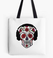 Sugar Skull with Headphones Tote Bag