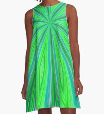 Bright Green and Blue Radiating Streaks A-Line Dress