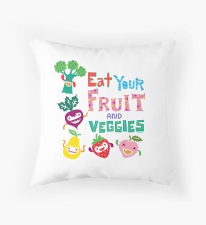 Eat your Fruit and Veggies - beige Throw Pillow