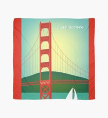 San Francisco, California - Golden Gate Bridge Illustration by Loose Petals Scarf