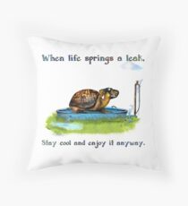 Turtle in a leaking pool Throw Pillow