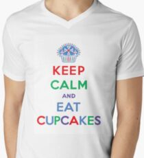 Keep Calm and Eat Cupcakes- primary Men's V-Neck T-Shirt