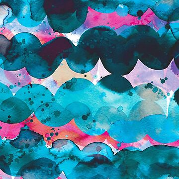Abstract waves sunset watercolor painting - Blue ocean and fuchsia by ninoladesign