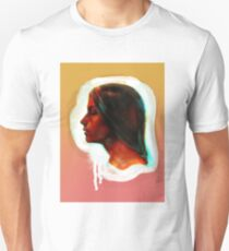Portrait of a girl on the orange and pink background Unisex T-Shirt