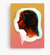 Portrait of a girl on the orange and pink background Canvas Print