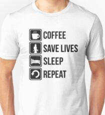 Funny Fire Fighter Coffee Save Lives Sleep Repeat T-Shirt
