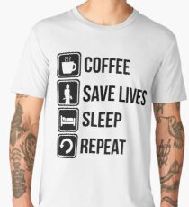 Funny Fire Fighter Coffee Save Lives Sleep Repeat Men's Premium T-Shirt