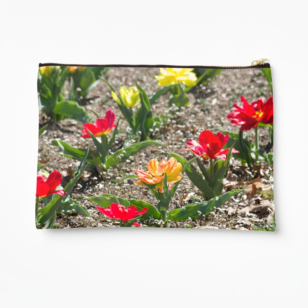 Red Orange Yellow Flowers in Garden Zipper Pouch