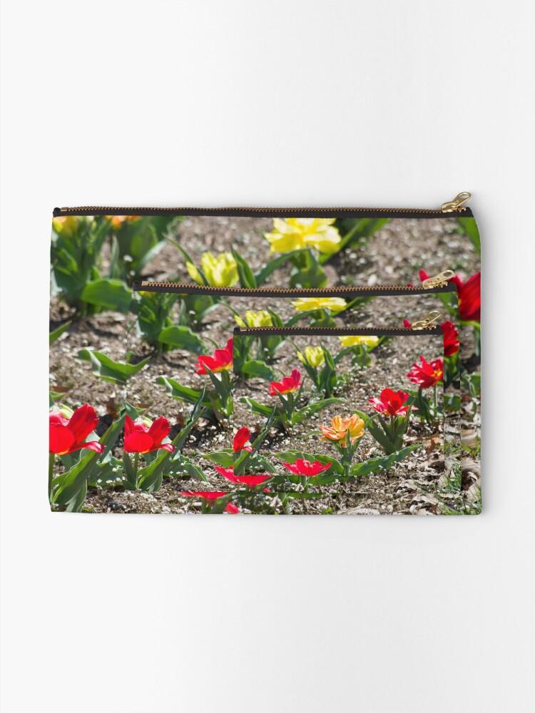 Alternate view of Red Orange Yellow Flowers in Garden Zipper Pouch