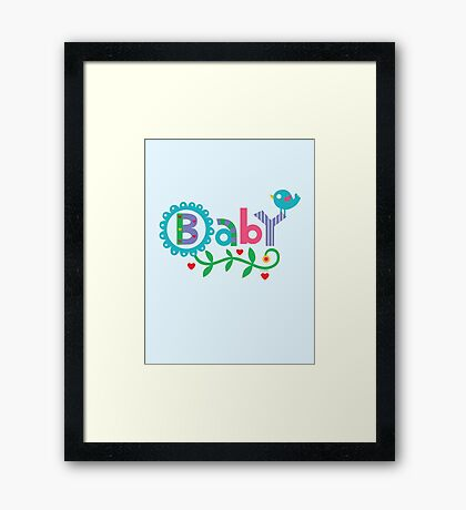 Baby and Bird - on lights Framed Print