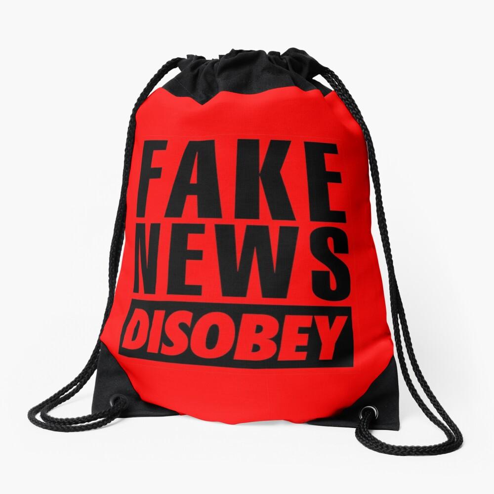 FAKE NEWS - DISOBEY Drawstring Bag