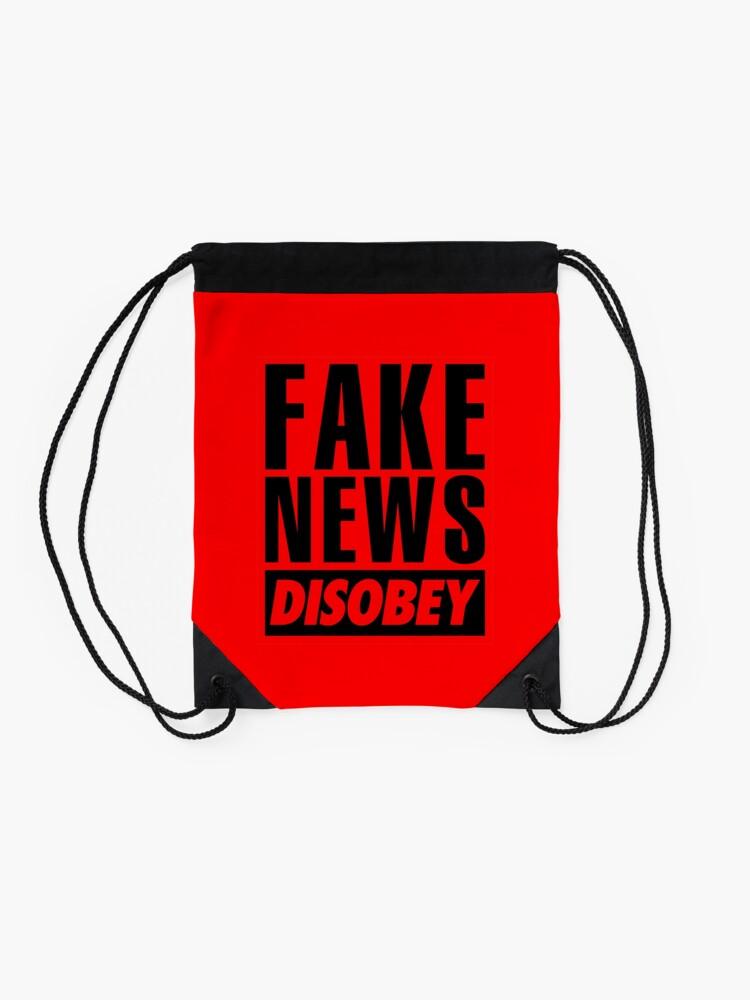 Alternate view of FAKE NEWS - DISOBEY Drawstring Bag