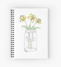 Mason Jar Daffodil Flowers Spiral Notebook