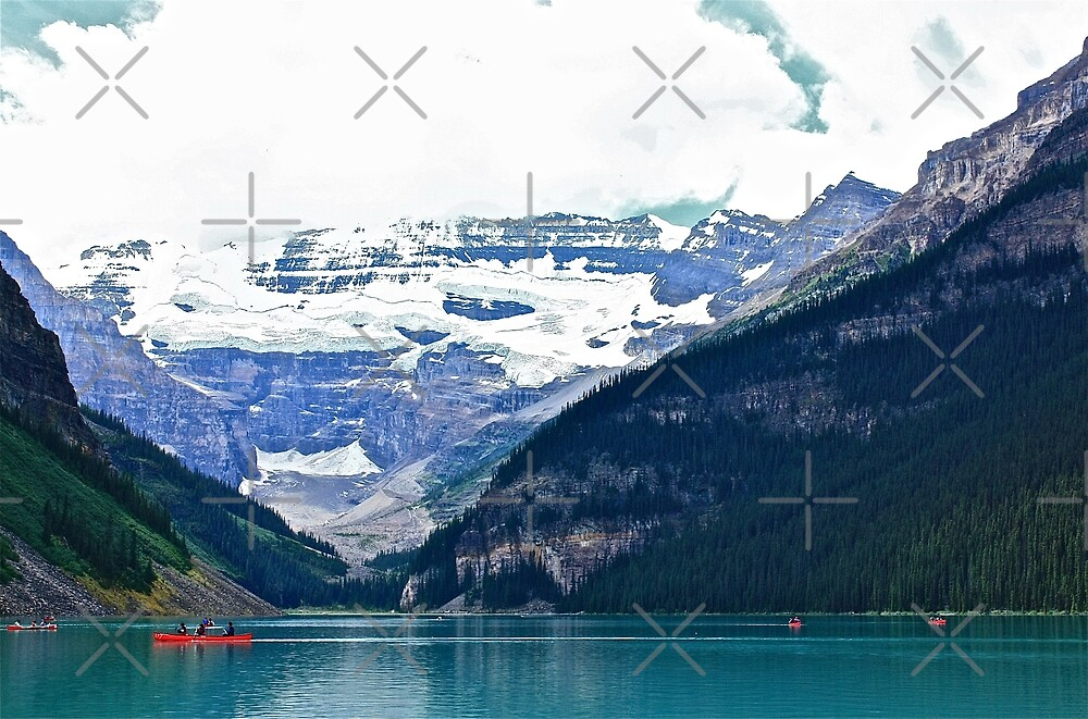 Red Canoes Turquoise Waters Lake Louise by Linda Bianic