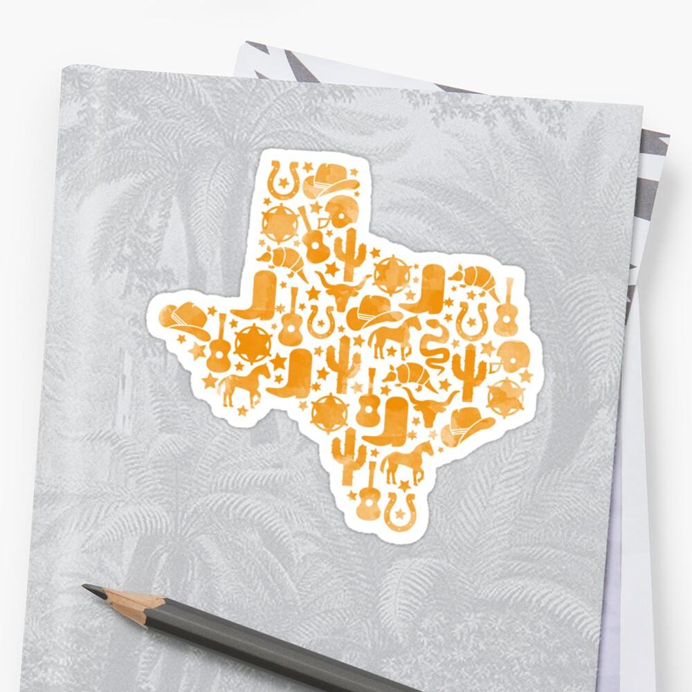 Texas Symbols Orange Watercolor\