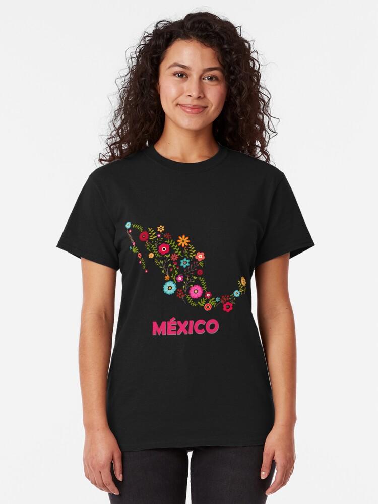 Vista alternativa de Camiseta clásica Mexico map flowers