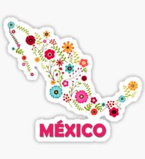 Mexico map flowers Sticker