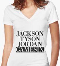 Jackson Tyson Jordan Gamesix - Jay-z Bars Women's Fitted V-Neck T-Shirt