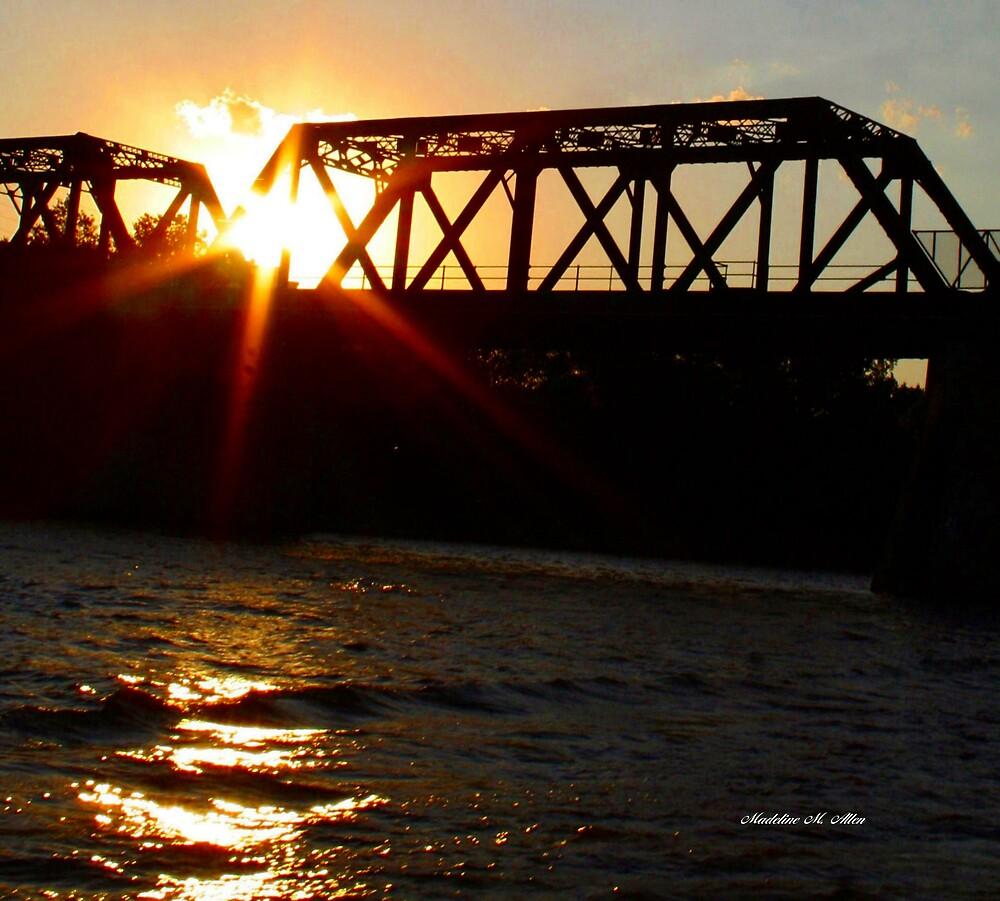 The Truss Bridge Sunset by Madeline M  Allen