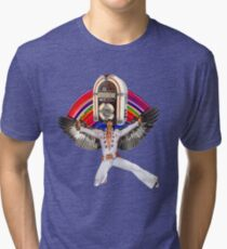 Elvis Brings Forth the Jukebox from the Rainbow in His Magnificent Wings Tri-blend T-Shirt