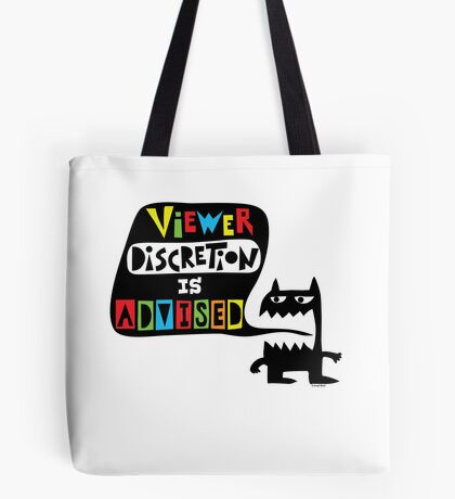 Viewer Discretion is Advised - multi colored Tote Bag