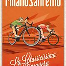 Retro Milan San Remo cycling art by SFDesignstudio