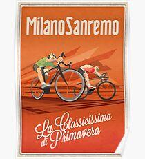 Retro Milan San Remo cycling art Poster
