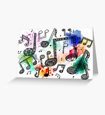 Watercolor Music Notes Greeting Card