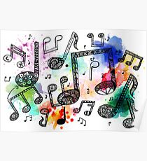 Watercolor Music Notes Poster