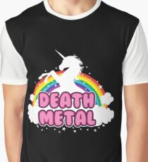 death metal silhouette parody unicorn rainbow Graphic T-Shirt