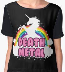 death metal silhouette parody unicorn rainbow Women's Chiffon Top