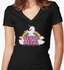 death metal silhouette parody unicorn rainbow Women's Fitted V-Neck T-Shirt