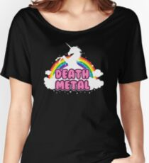 death metal silhouette parody unicorn rainbow Women's Relaxed Fit T-Shirt