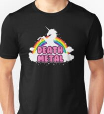 death metal silhouette parody unicorn rainbow T-Shirt