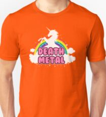 death metal silhouette parody unicorn rainbow Unisex T-Shirt