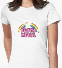 death metal silhouette parody unicorn rainbow Womens Fitted T-Shirt