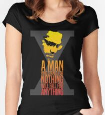 Malcolm X Typography Quotes Women's Fitted Scoop T-Shirt