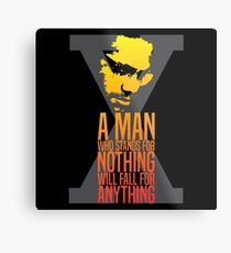 Malcolm X Typography Quotes Metal Print