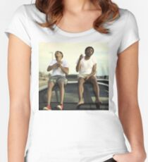 CHILDISH GAMBINO AND CHANCE THE RAPPER Women's Fitted Scoop T-Shirt
